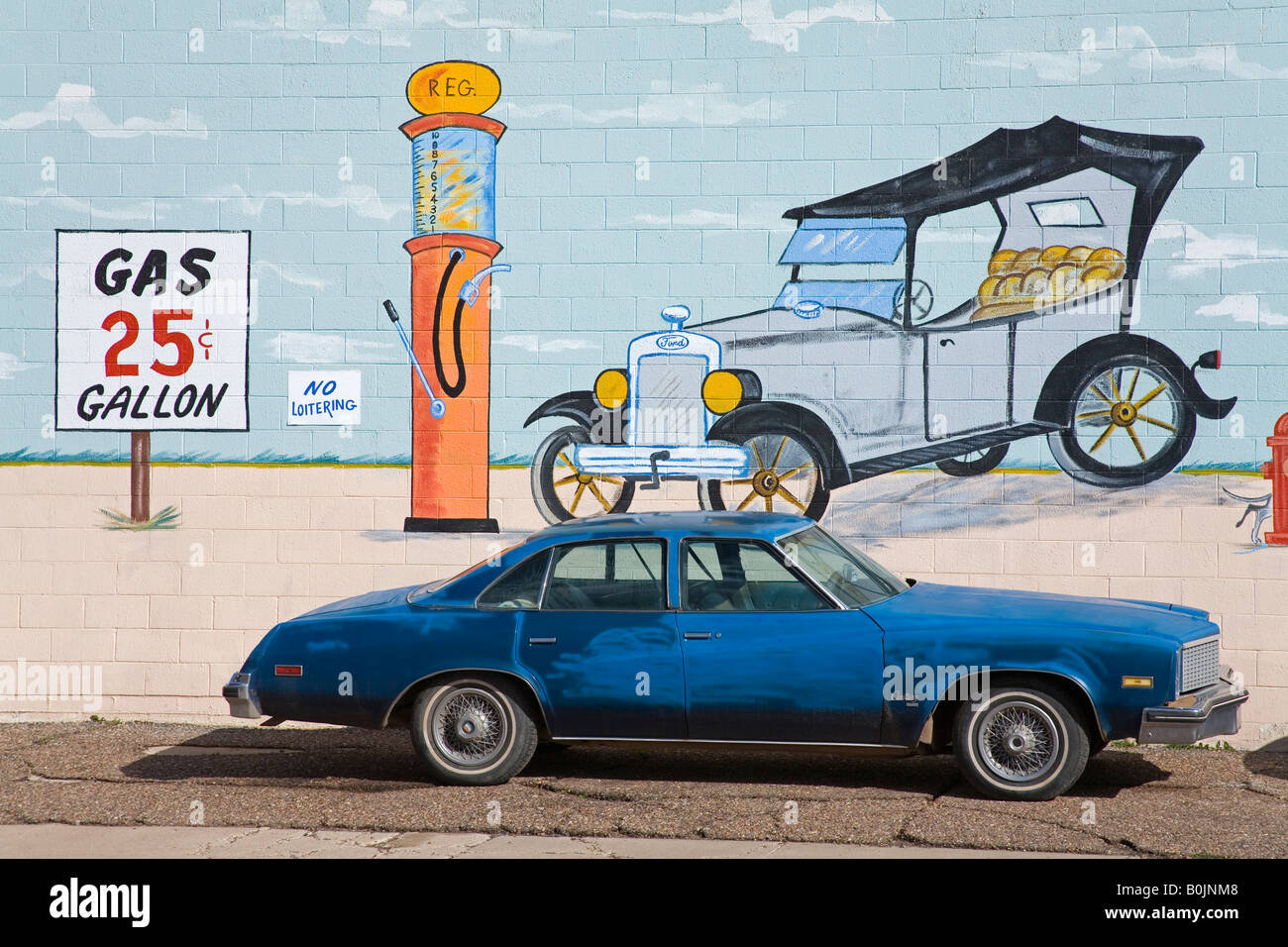 mural on auto repair shop holbrook city route 66 arizona usa painted