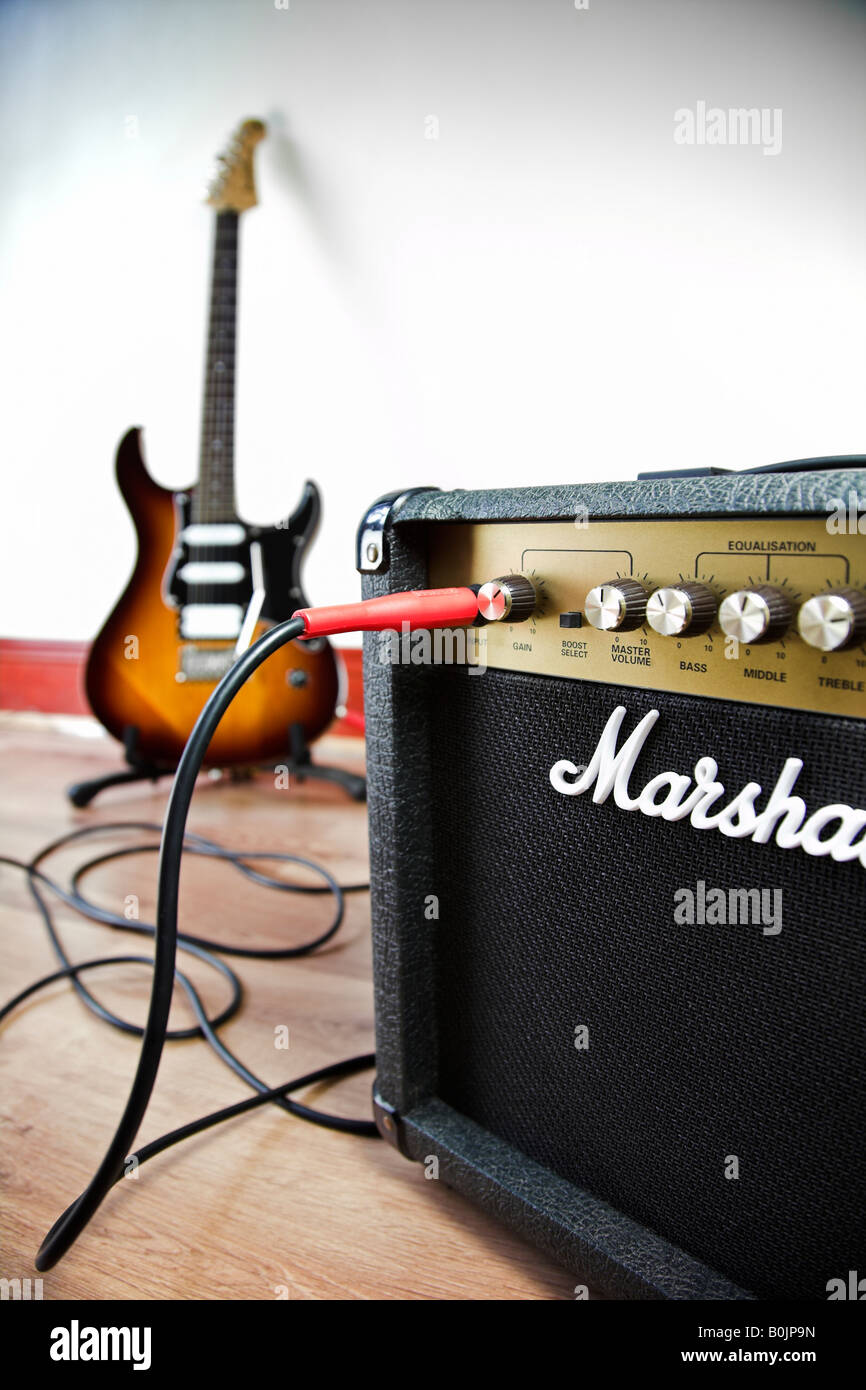 marshall amplifier connected to an electric guitar stock photo 17623025 alamy. Black Bedroom Furniture Sets. Home Design Ideas