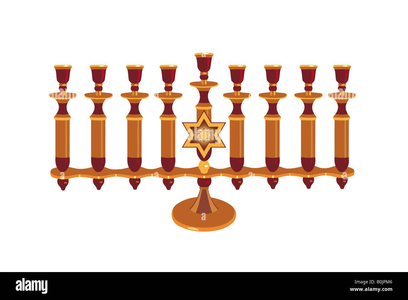 Nine candles Hebrew menorah illustration, isolated - Stock Image