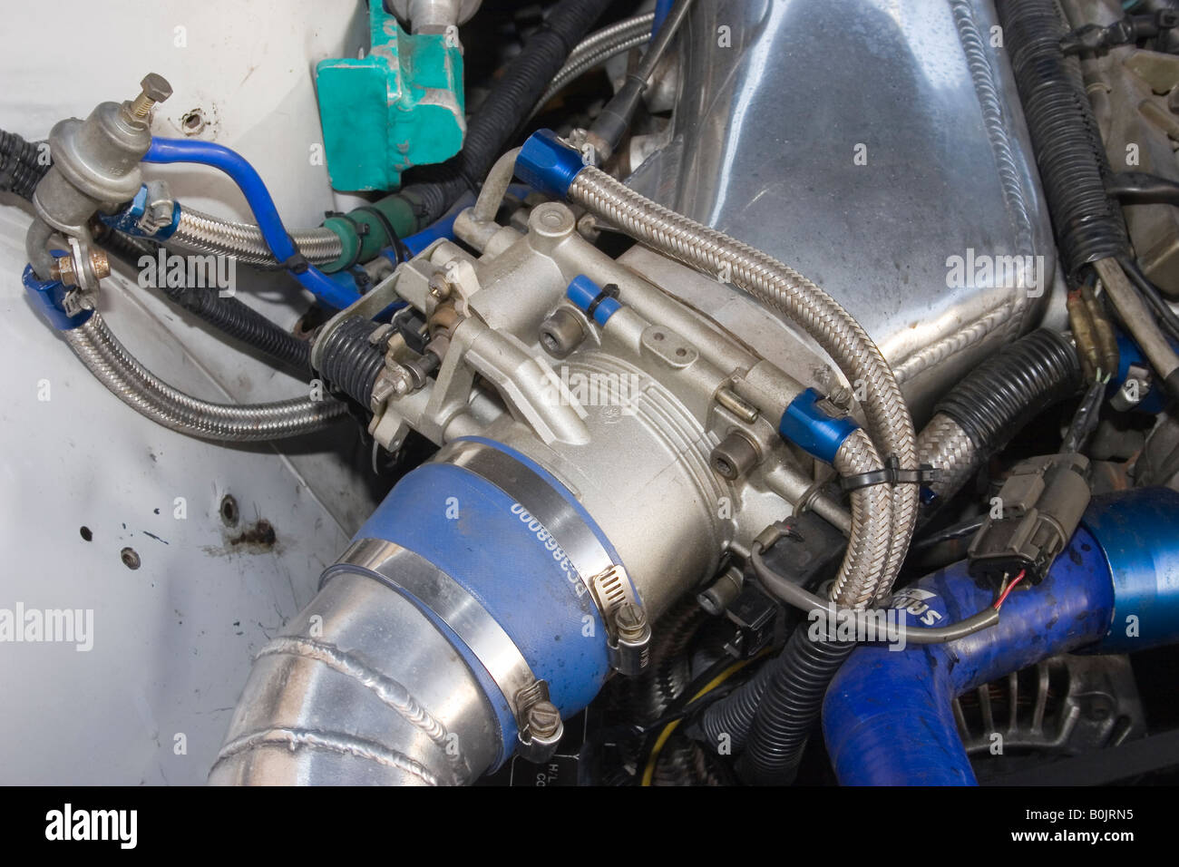 throttle body on a modified Japanese sports car Stock Photo