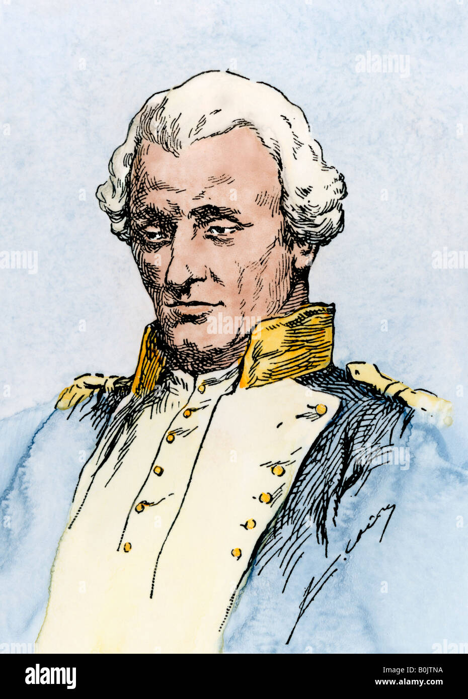 Jean-Charles de Borda French nautical astronomer and mathematician. Hand-colored woodcut - Stock Image