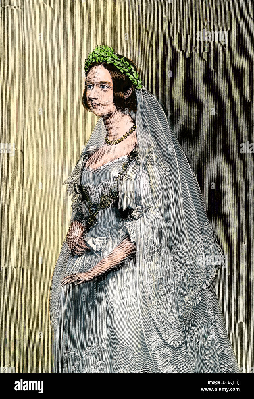 Queen Victoria on her wedding day. Hand-colored woodcut - Stock Image