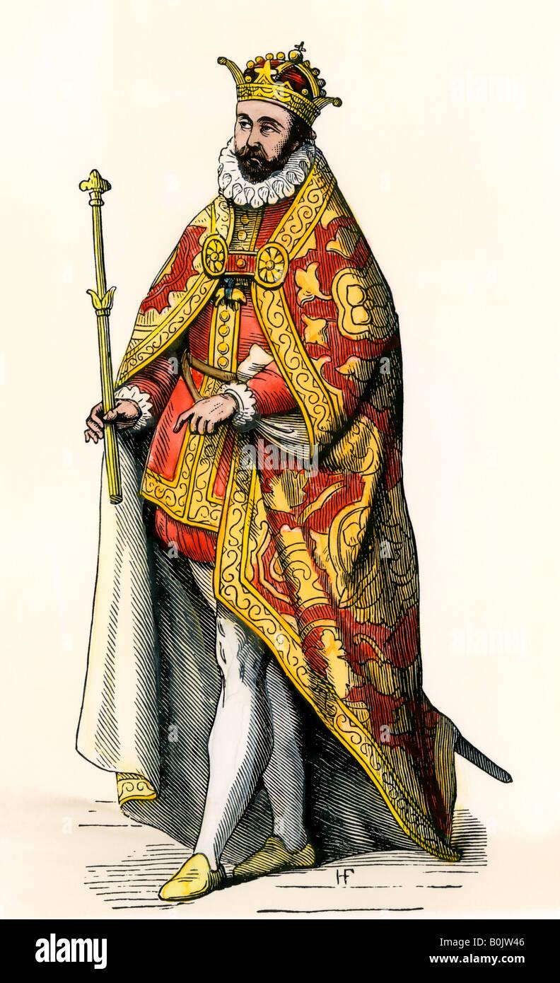 Philip II King of Spain. Hand-colored woodcut - Stock Image