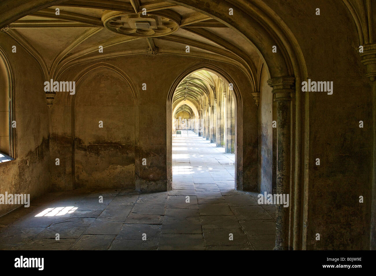Cloisters from the bridge of sighs. St johns college. Cambridge. - Stock Image