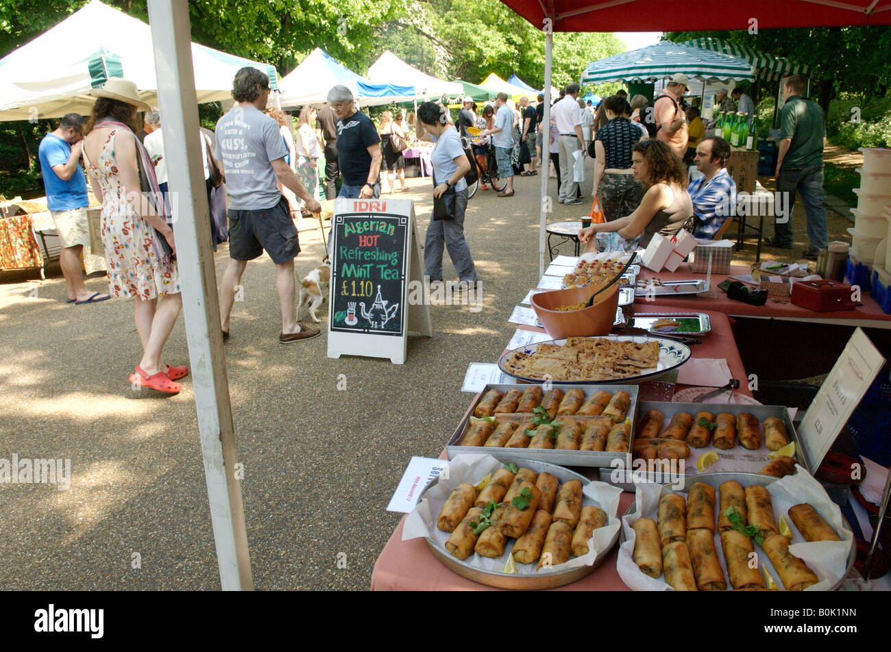 A farmers market in Alexandra Palace, North London - Stock Image