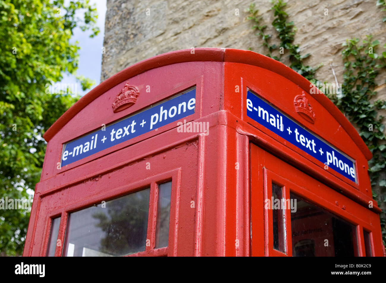 Telephone email and text booth in the Cotswolds United Kingdom - Stock Image