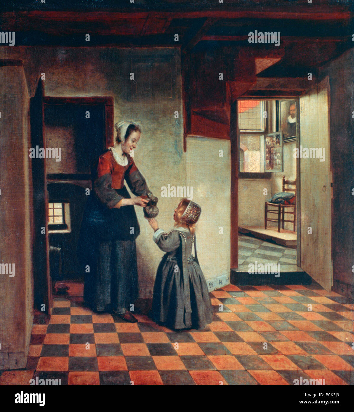 'Woman with a Child in a Pantry', c1660. Artist: Pieter de Hooch - Stock Image