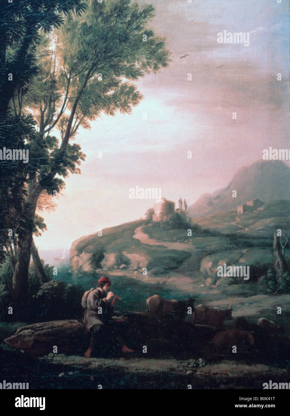 'Pastoral Landscape', c1620-1682. Artist: Claude Lorrain - Stock Image