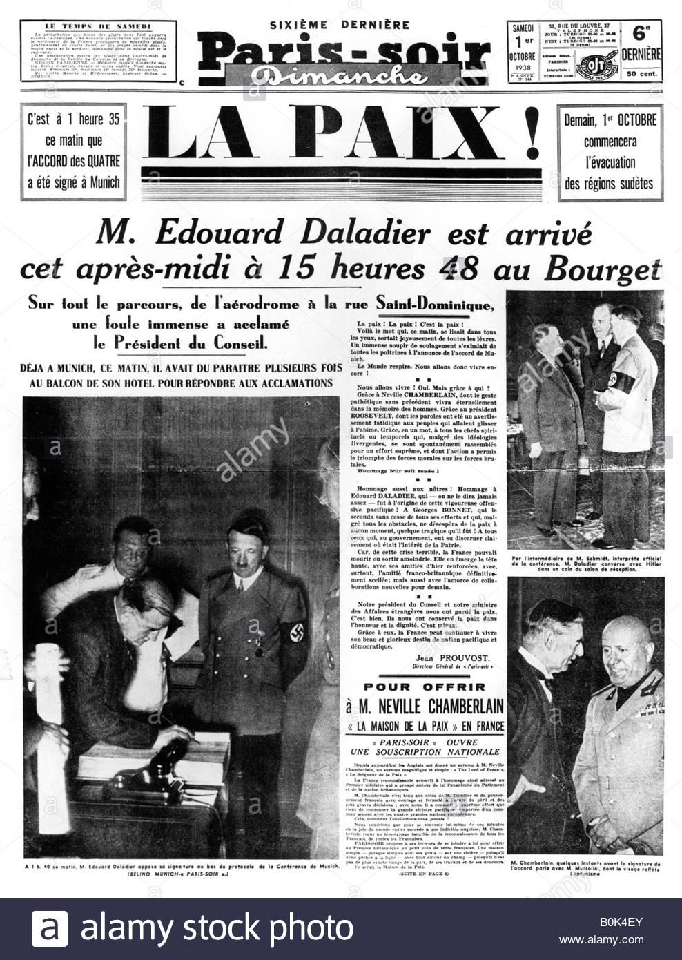 Peace!, front page of 'Paris-soir' newspaper, 1 October 1938. - Stock Image