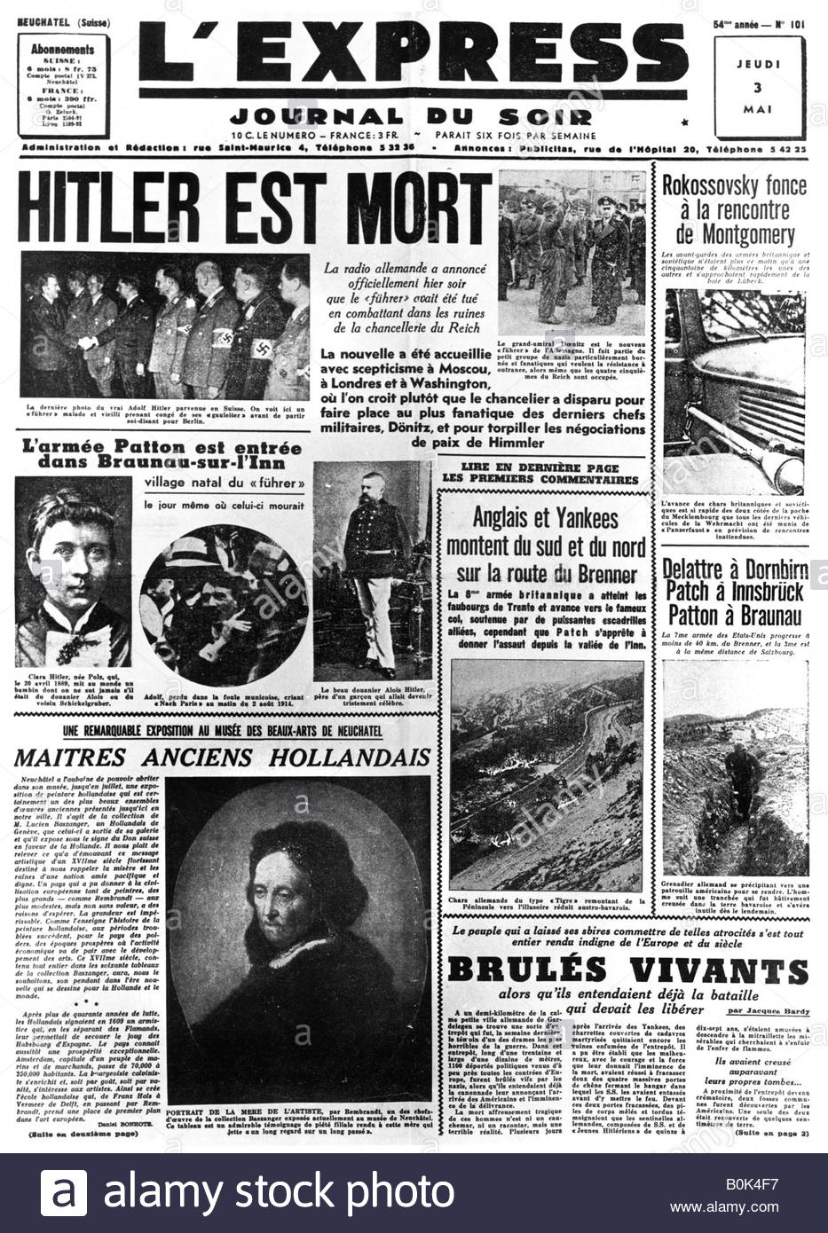 Hitler is Dead, front page of 'L'Express' newspaper, 3 May 1945. - Stock Image