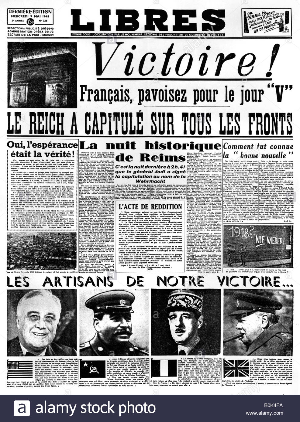 Victory!, front page of 'Libres' newspaper, 9 May 1945. - Stock Image