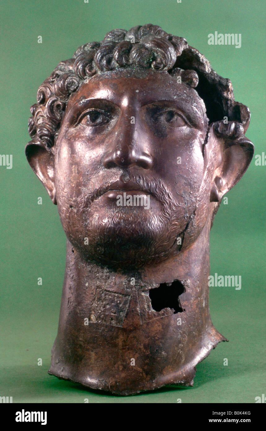 Bronze head of the Emperor Hadrian, 2nd century AD. Artist: Unknown - Stock Image