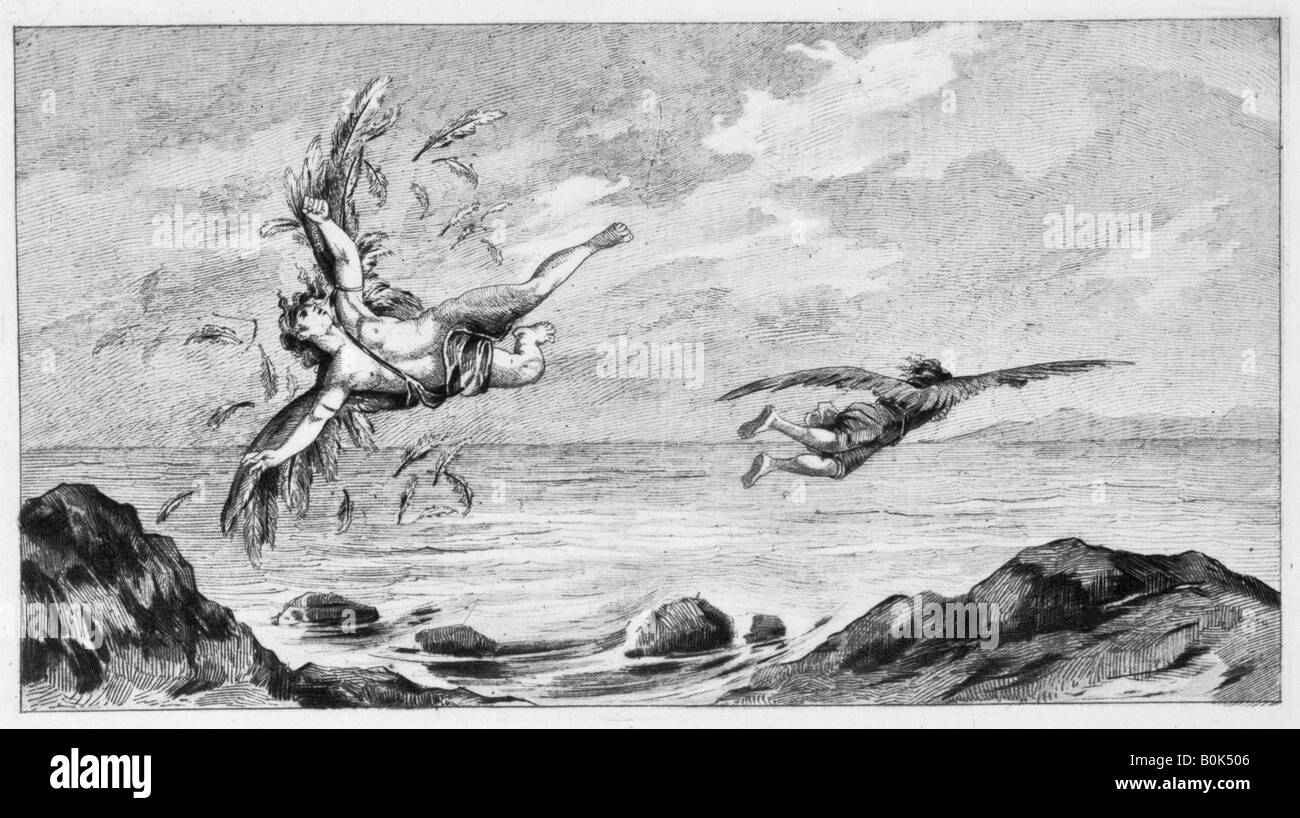 'Icarus and Daedalus', 1887. Artist: Bernard de Montfaucon - Stock Image