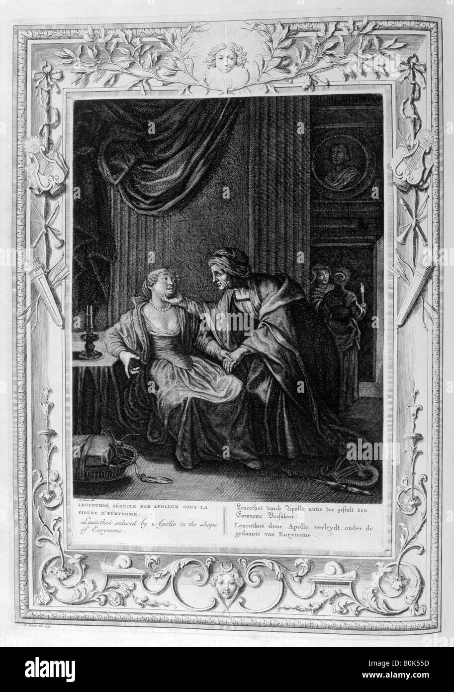 'Leucothoe Seduced by Apollo in the Shape of Eurynome', 1733. Artist: Bernard Picart - Stock Image