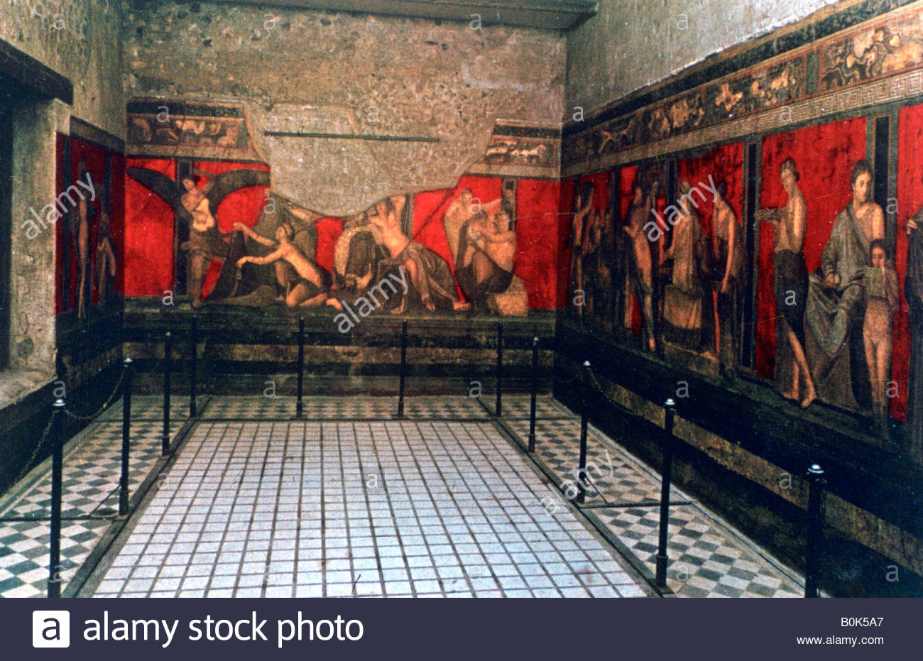 Frieze of the Villa of the Mysteries, Pompeii. - Stock Image