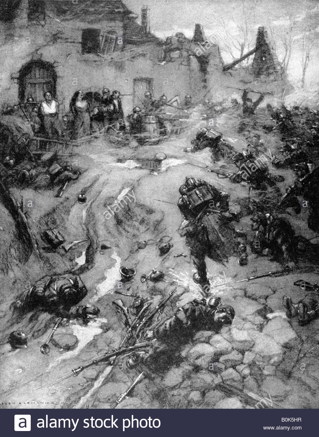 'Our Troops take Steinbach, Alsace', World War I, 1915. Artist: Leven and Lemonier - Stock Image