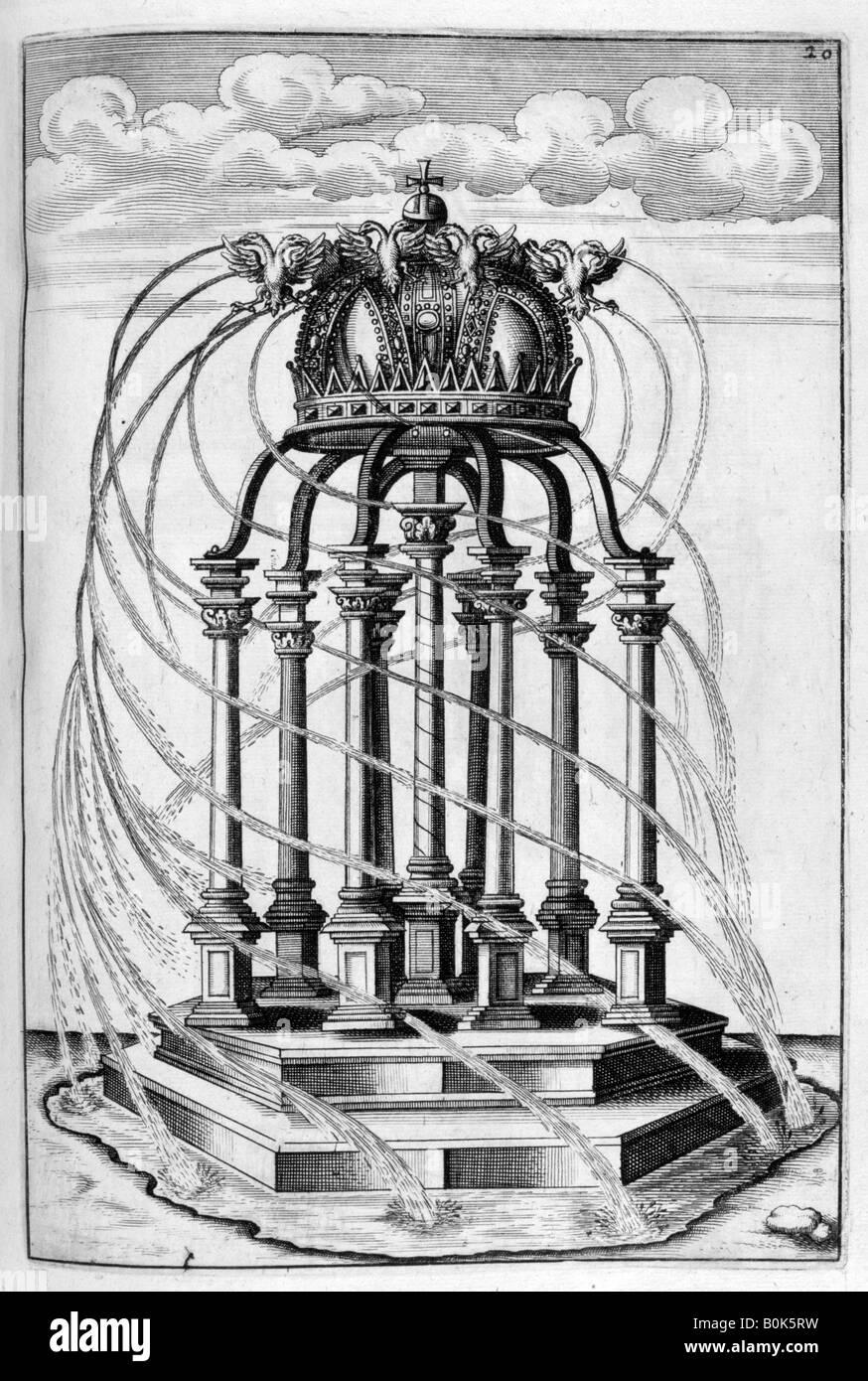 Fountain design, 1664. Artist: Georg Andreas Bockler - Stock Image