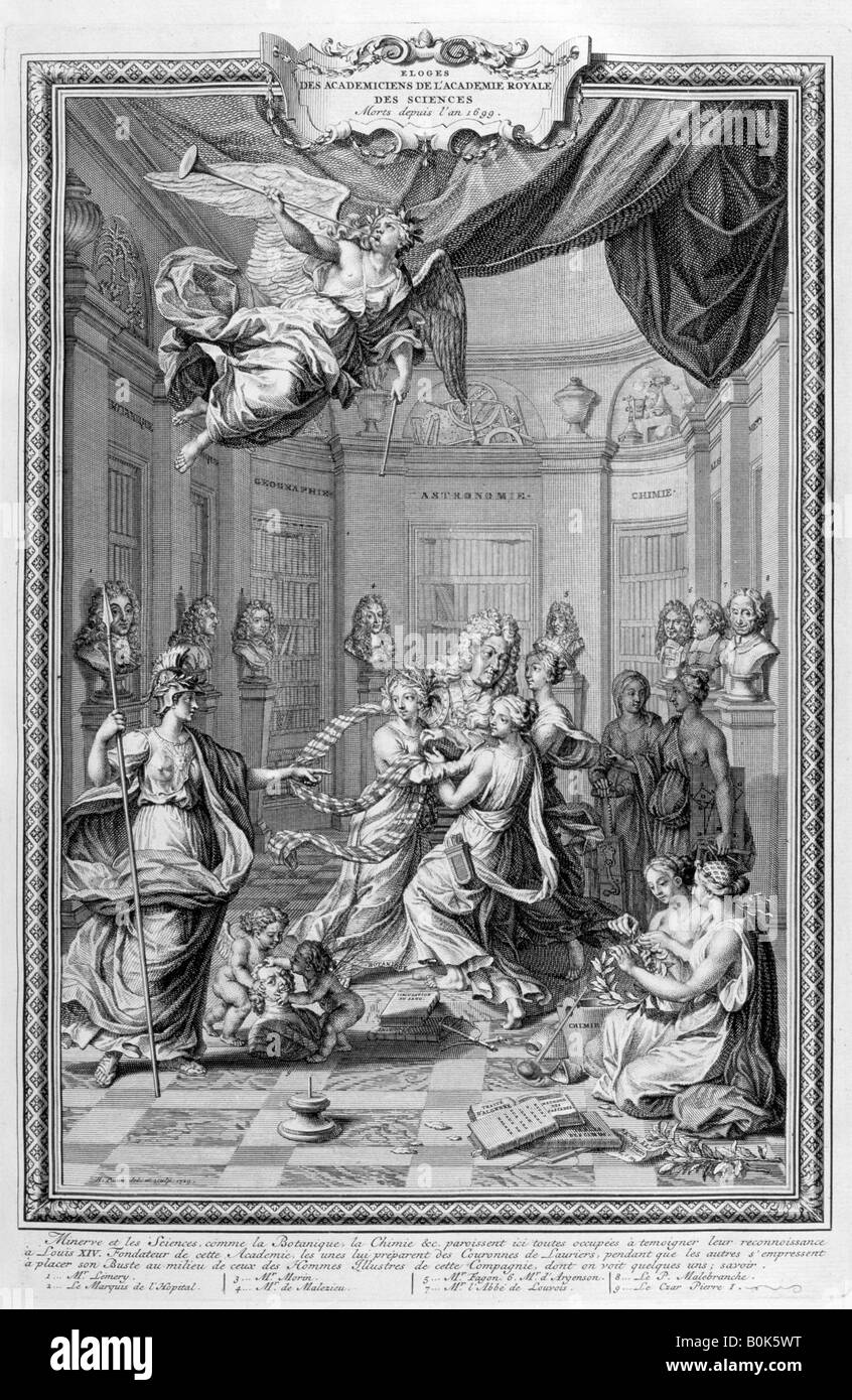 Praise of Academiciens of the Royal Academy of Science... 1728. Artist: Bernard Picart - Stock Image