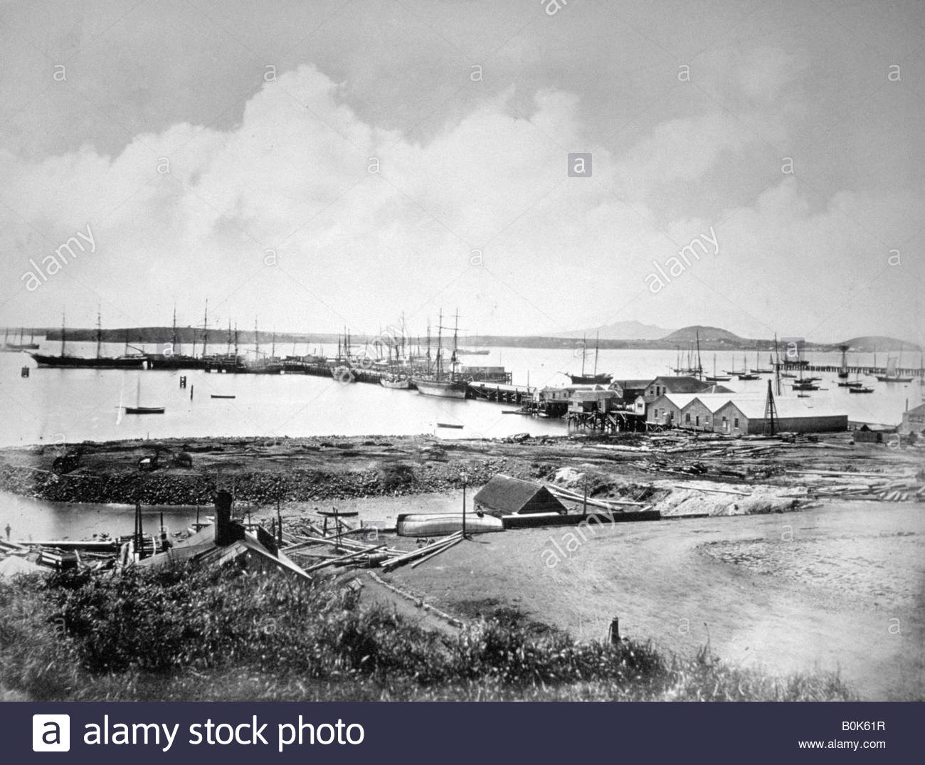 The port, Auckland, New Zealand, c1870-1880. Stock Photo