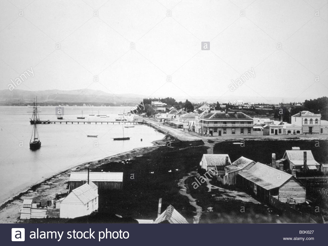 Tauranga, Bay of Plenty, North Island, New Zealand, 1875. Stock Photo
