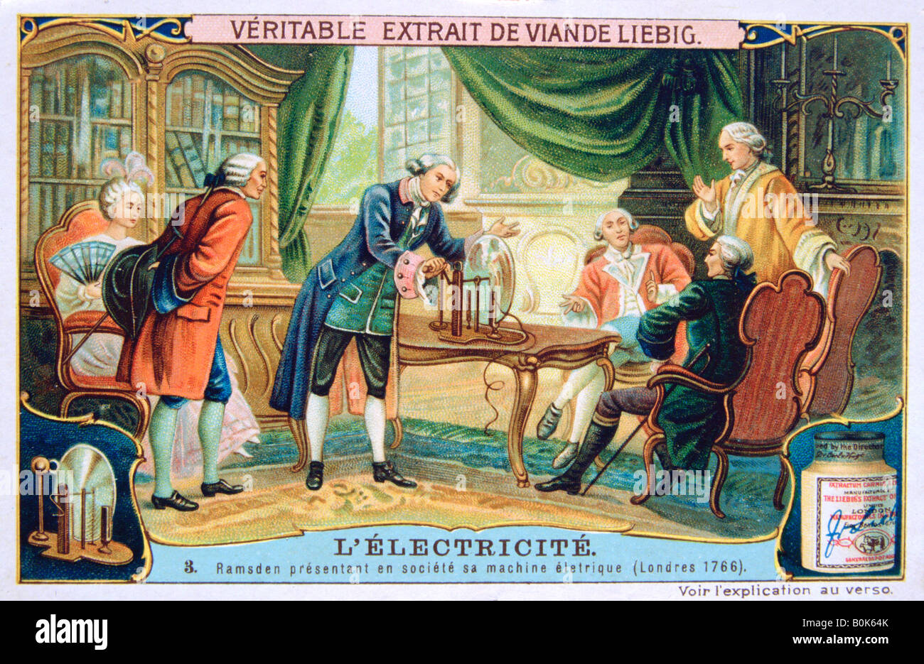 Electricity demonstration, London, 1766, (c1900). Artist: Unknown Stock Photo