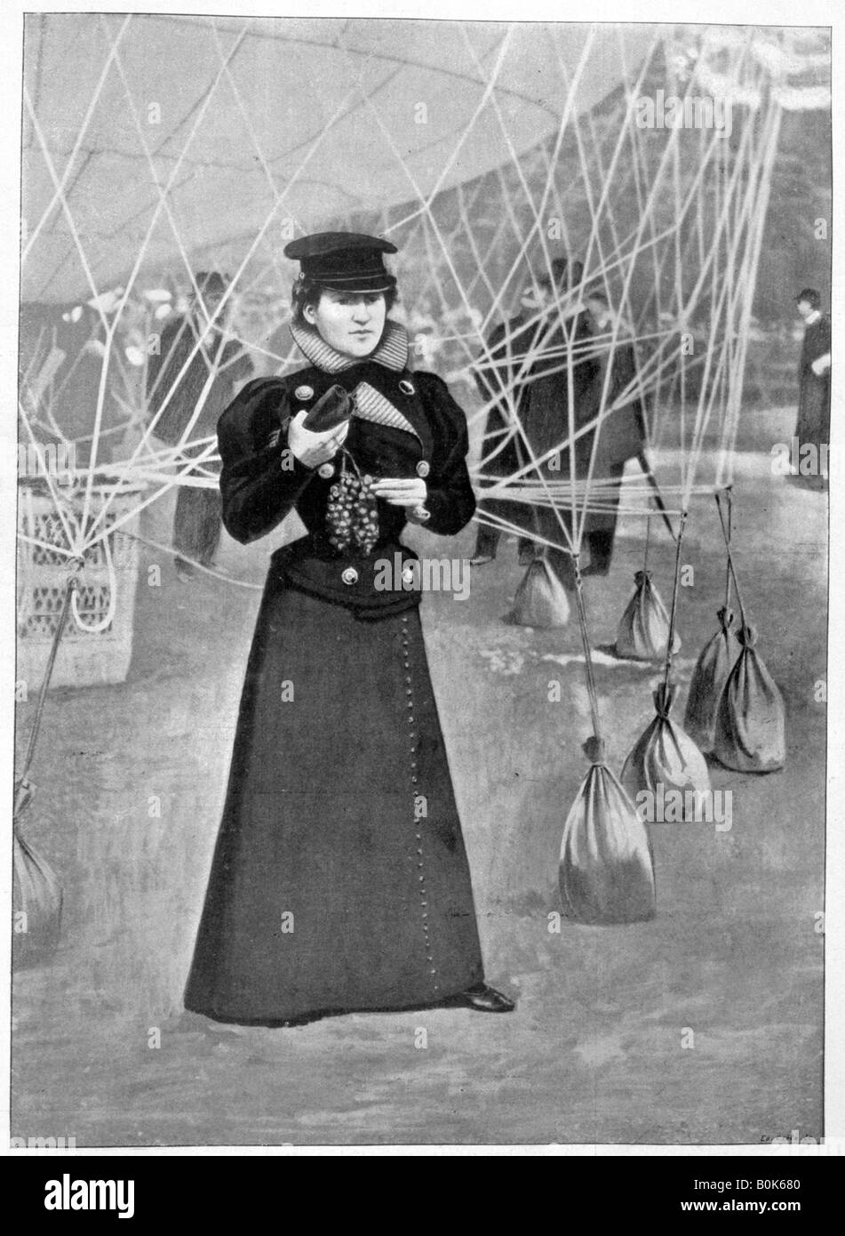 The Aero Club, costume of a female ballooner, 15th November 1898.  Artist: Unknown - Stock Image