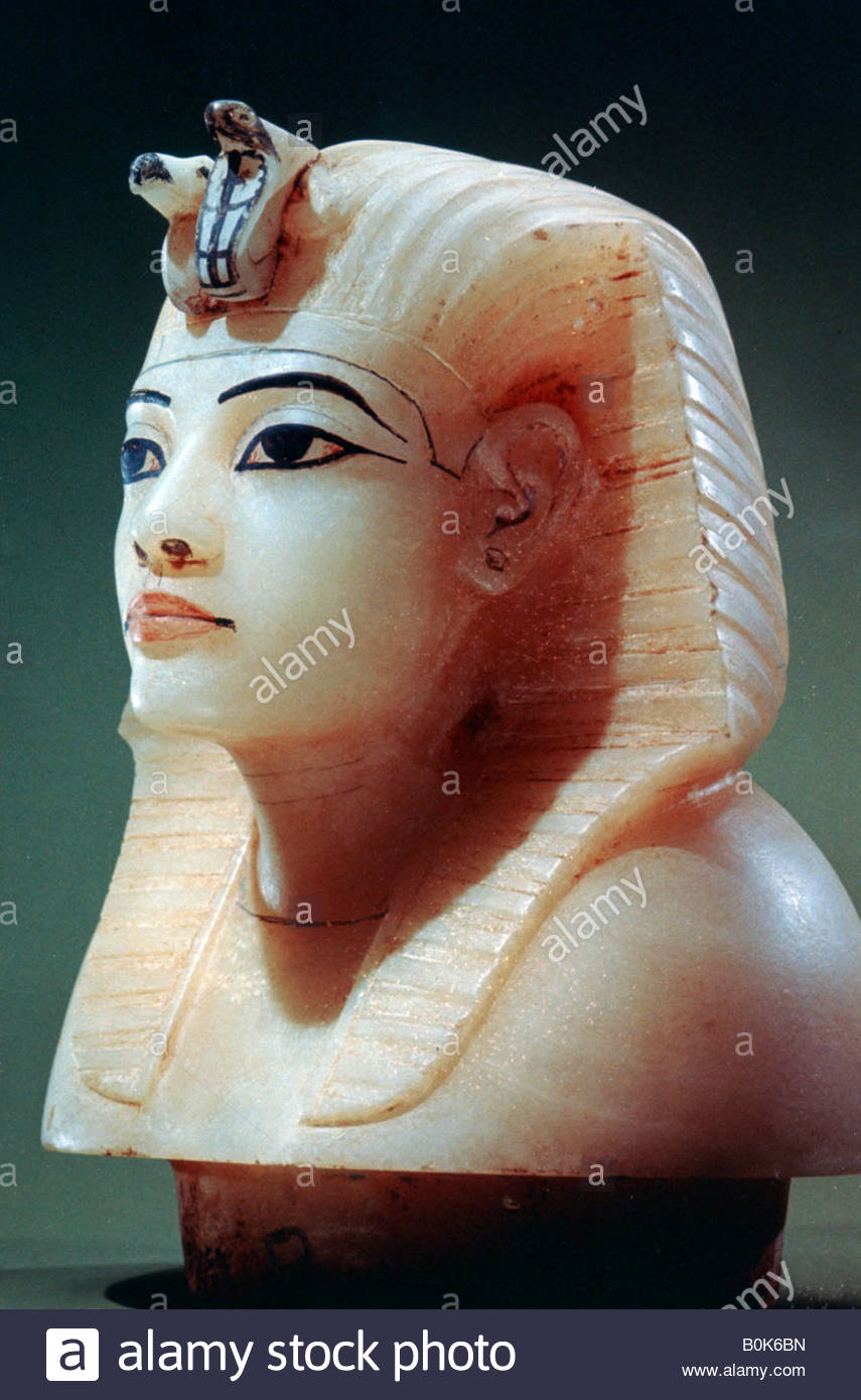 Stopper from one of the canopic urns from the tomb of Tutankhamun, 18th Dynasty. - Stock Image