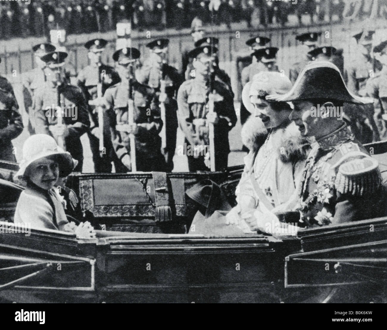 The Duke and Duchess of York leaving St Pauls Cathedral with their daughters, 1935, (1937). - Stock Image