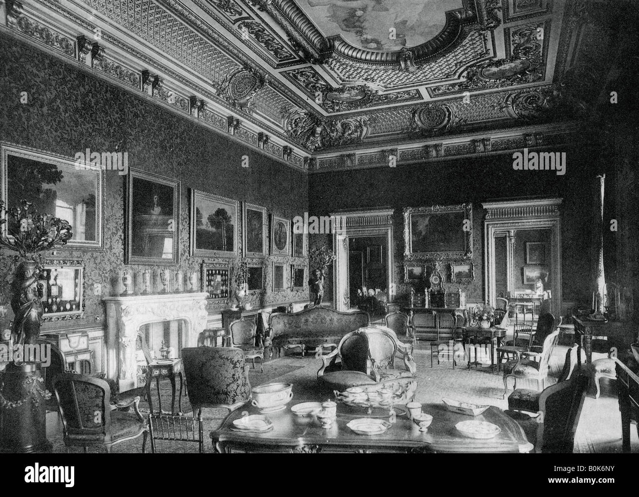 The drawing-room, Montagu House, 1908. Artist: J Russell & Sons - Stock Image