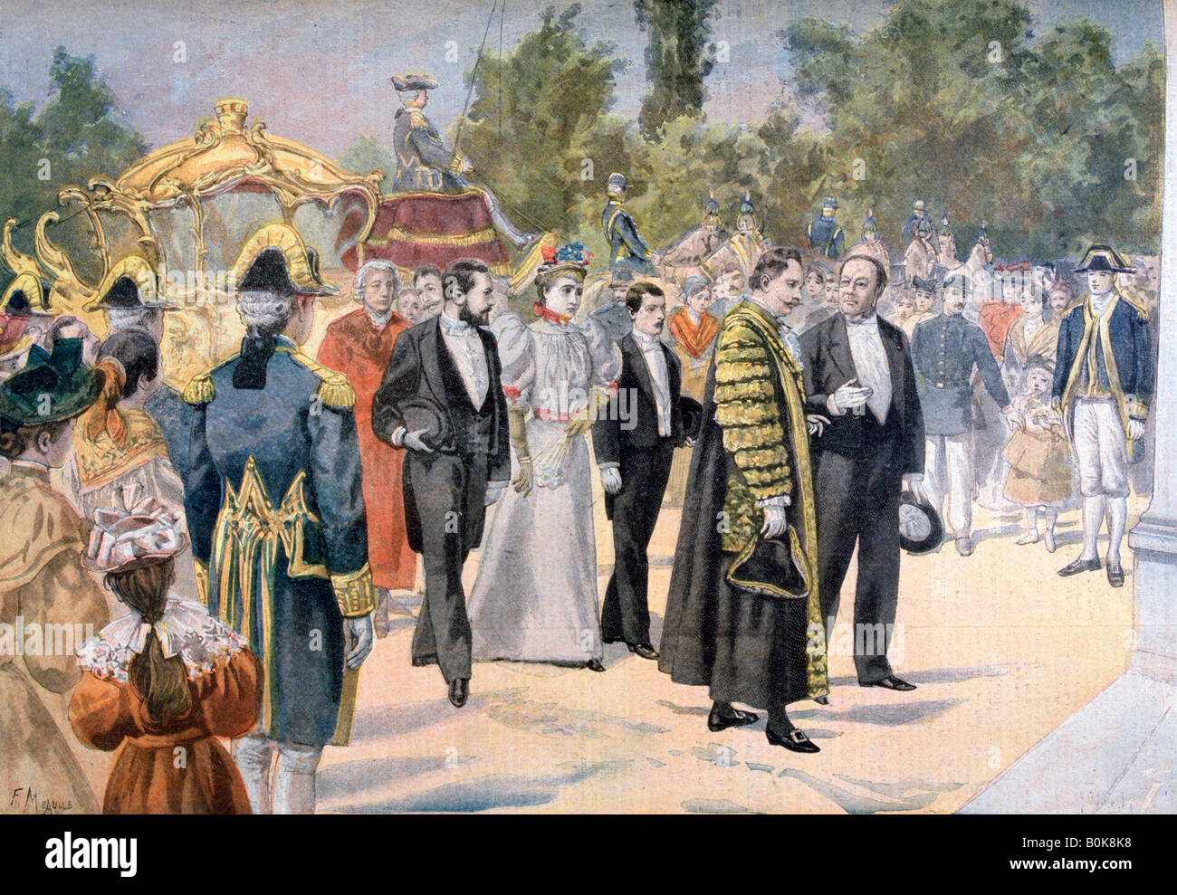 The Lord Mayor of London visiting Bordeaux, France, 1895. Artist: F Meaulle - Stock Image