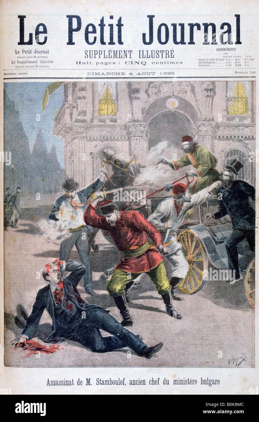 Assasination of Stefan Stambulov, Sofia, Bulgaria, 1895. Artist: Henri Meyer - Stock Image