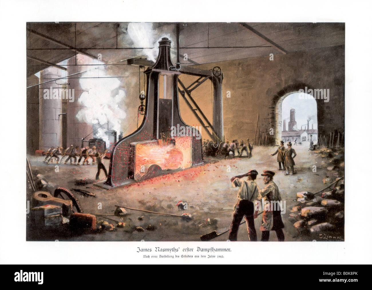 James Nasmyth's steam hammer, 1900.Artist: E Zimmer Stock Photo