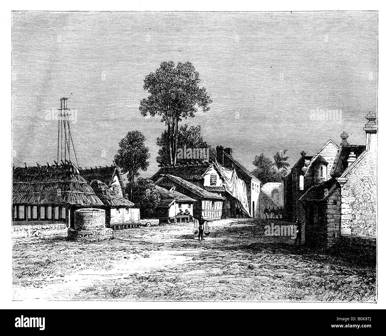 A street of Macassar, Celebes, Indonesia, 19th century. Artist: Hubert Clerget - Stock Image