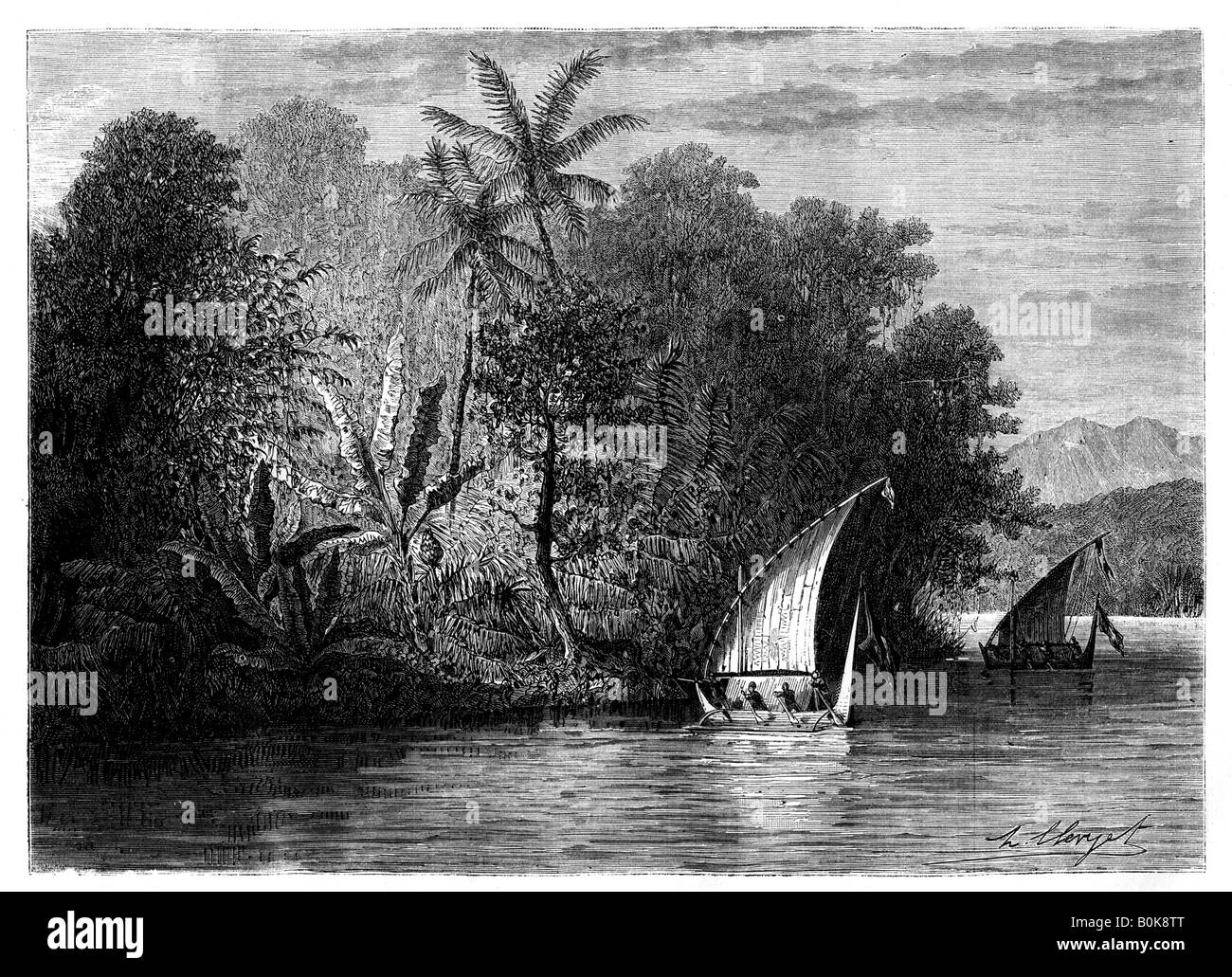 A sight at Celebes, Indonesia, 19th century. Artist: Hubert Clerget - Stock Image