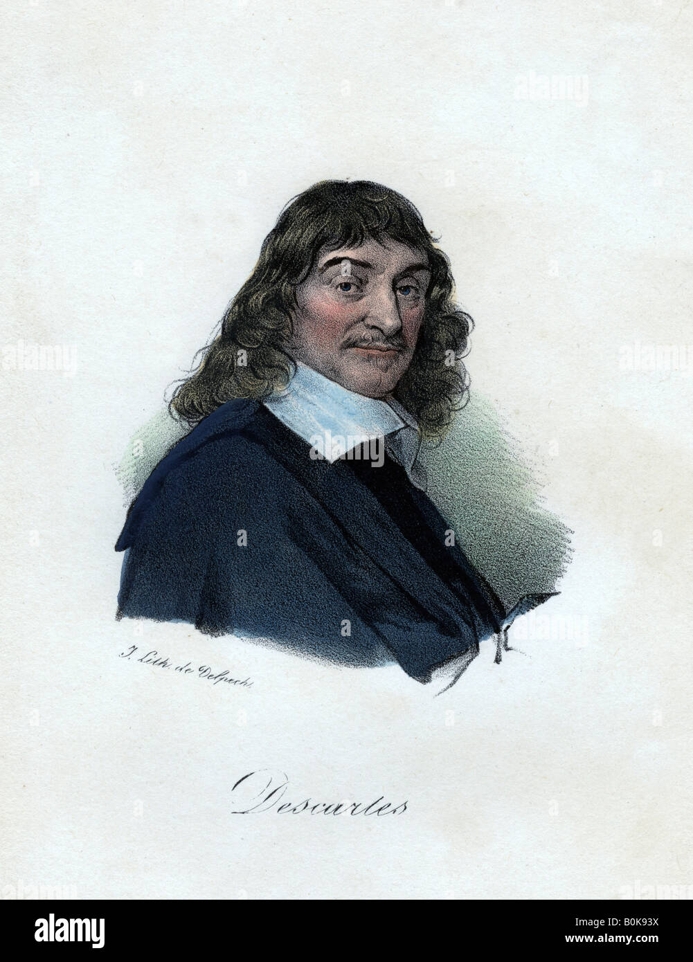 Rene Descartes, French philosopher, mathematician, and scientist, (c19th century).Artist: Delpech Stock Photo