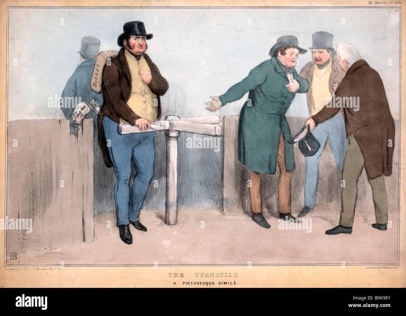 'The Turnstile, A Picturesque Simile', 19th century.  Artist: John Doyle - Stock Image