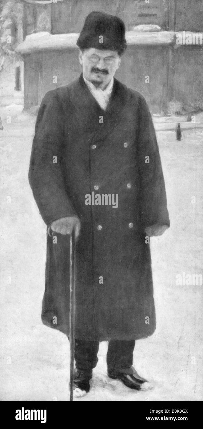 Leon Trotsky at Brest-Litovsk, 7th January 1918, (1929). Artist: Unknown - Stock Image