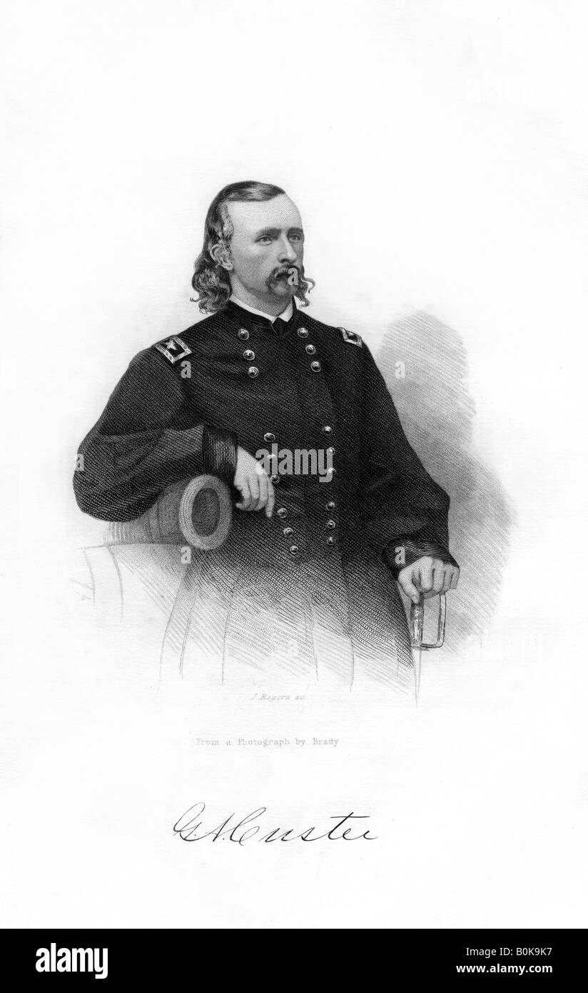 General George Armstrong Custer, US Union Army cavalry commander, 1862-1867. Artist: J Rogers - Stock Image