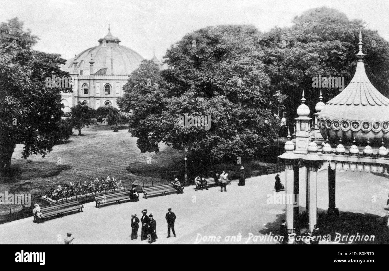 Dome and Pavilion Gardens, Brighton, early 20th century. Artist: Unknown - Stock Image