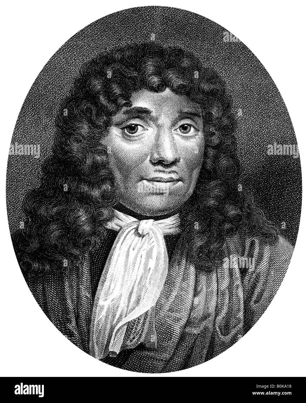 Antoni van Leeuwenhoek, Dutch pioneer of microscopy, (1813).Artist: J Chapman - Stock Image