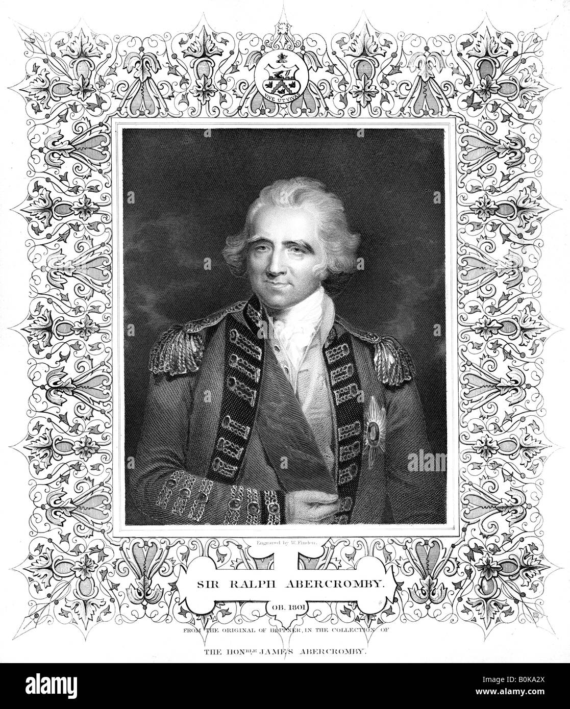 Sir Ralph Abercromby, British general.Artist: William Finden - Stock Image