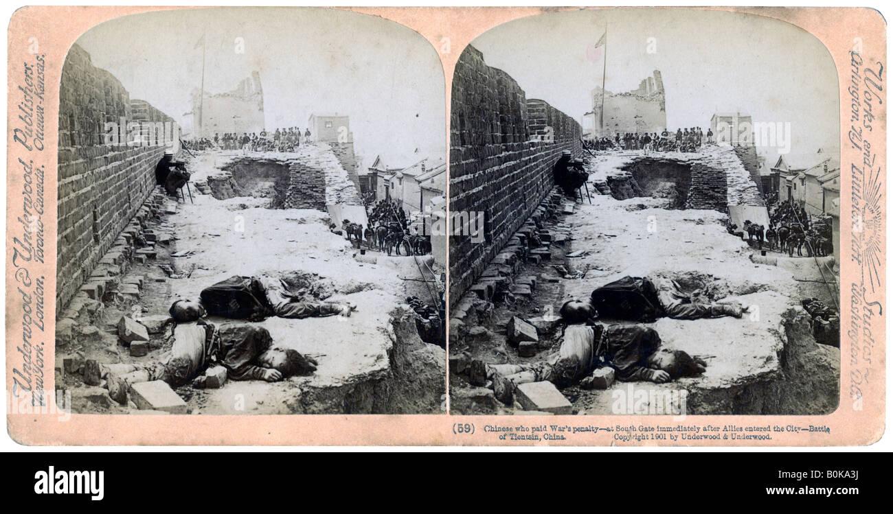 Battle of Tientsin, Boxer Rebellion, China, 1900 (1901).Artist: Underwood & Underwood - Stock Image