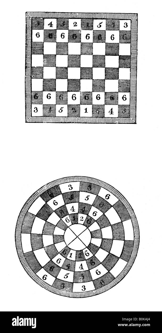 Square and circular chessboards, 14th century, (1833). Artist: Unknown - Stock Image