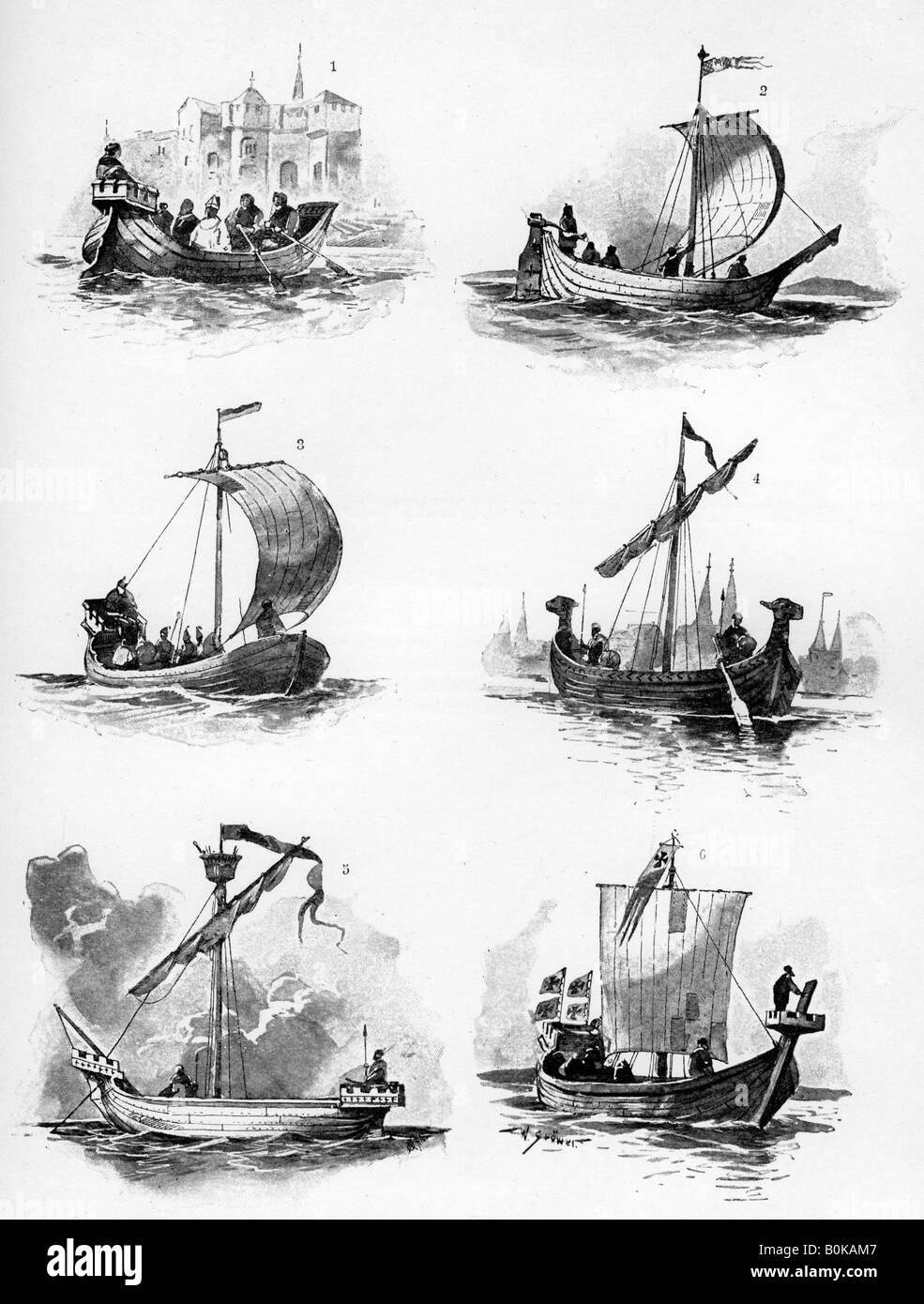 Ships of the Hanseatic League of the 14th and 15th century, (1903). Artist: Willy Stower - Stock Image