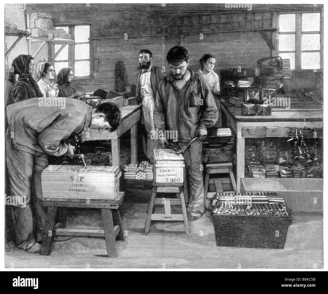Packing cartridges into boxes at Isleten, near Fluelen, Switzerland, 1893. Artist: Unknown - Stock Image