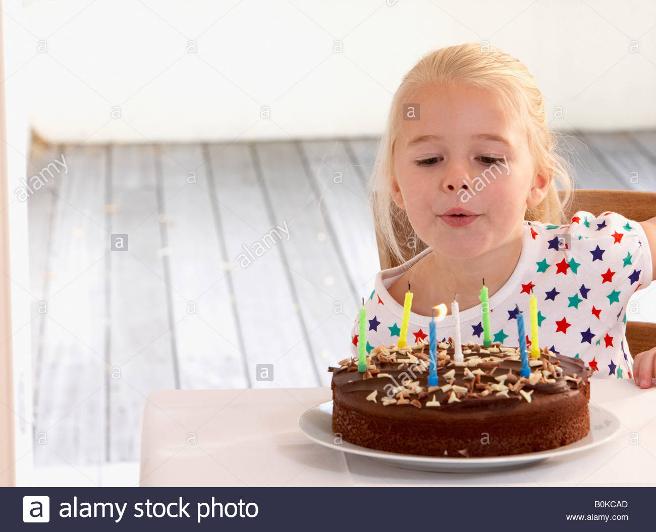 Kid Birthday Cake In Front Stock Photos Kid Birthday Cake In Front