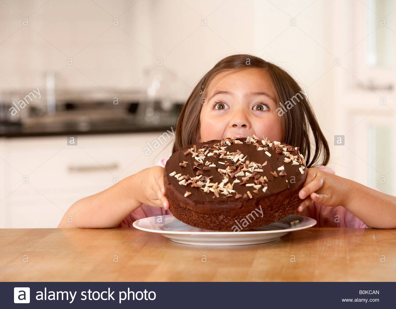 Boy Eating Chocolate Cake