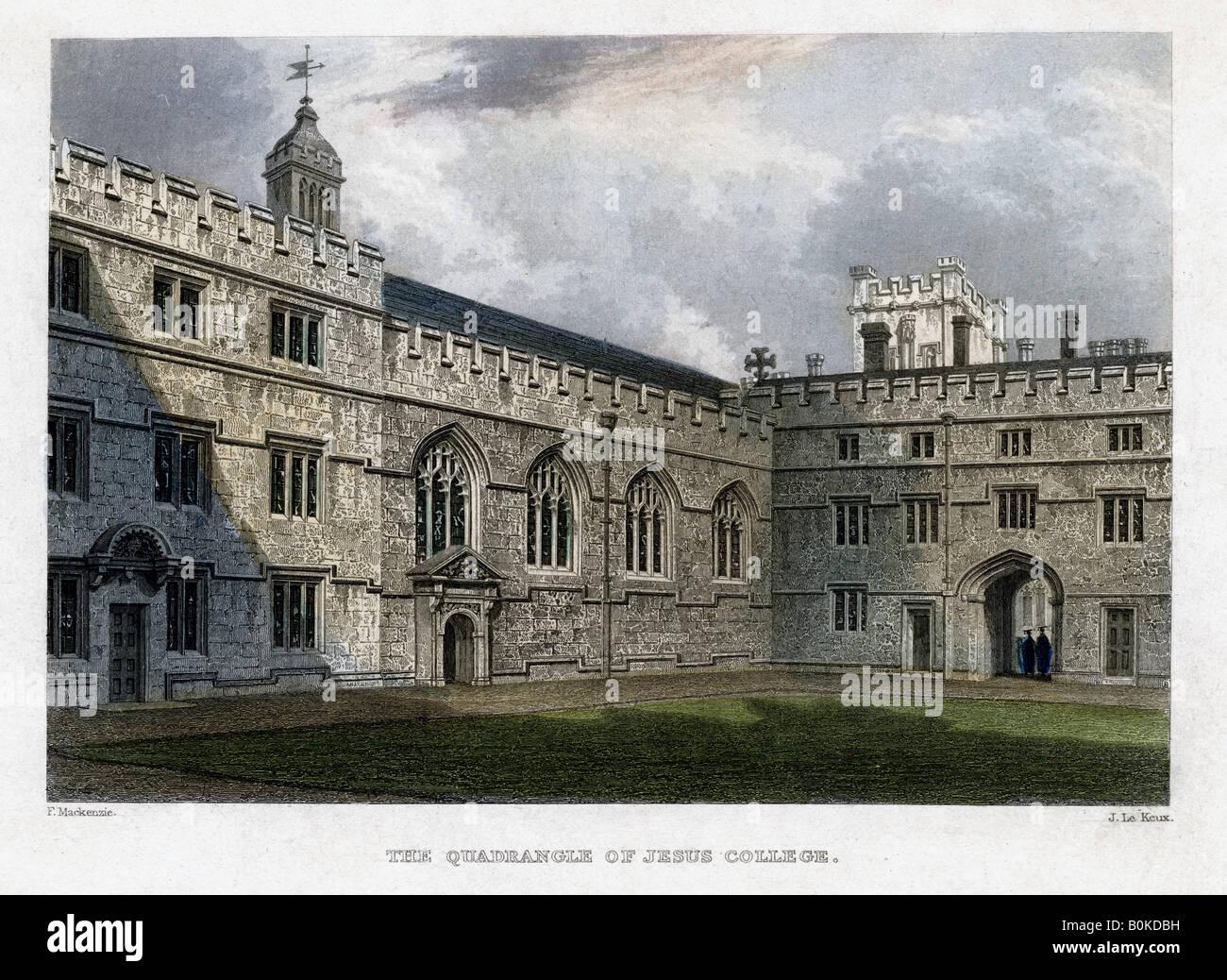 The Quadrangle of Jesus College, Oxford University, c1830s. Artist: John Le Keux - Stock Image