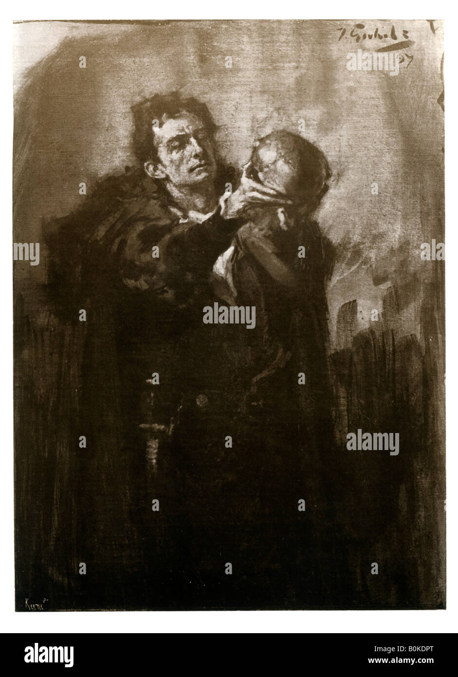Forbes-Robertson as Hamlet, late 19th century.Artist: John Percival Gulich - Stock Image