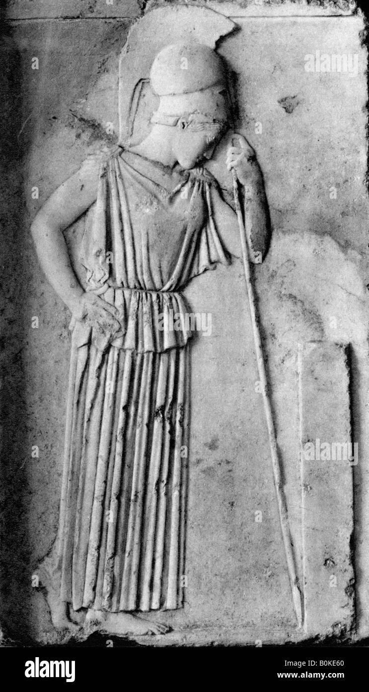 Relief of Athena/Minerva, 5th century BC, (1937). Artist: Martin Hurlimann - Stock Image